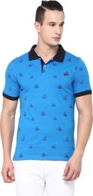 London Bridge Printed Men's Polo Neck Blue T-Shirt