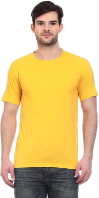 Blue-Tuff Solid Men's Round Neck Yellow T-Shirt