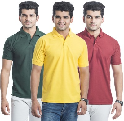 Bainsons Solid Men,s Polo Maroon, Yellow, Green T-Shirt