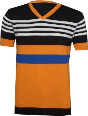 Tick Lish Striped Men's V-neck Orange, Black, Blue T-Shirt