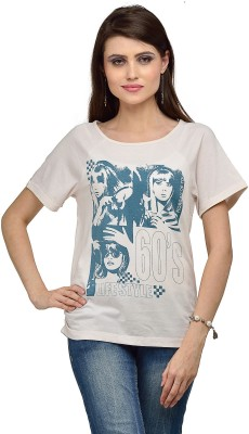 Iracc Printed Women's Round Neck White T-Shirt