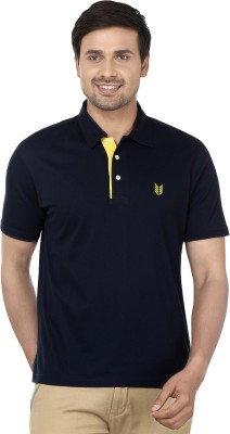 Ruse Solid Men's Polo Blue, Yellow T-Shirt