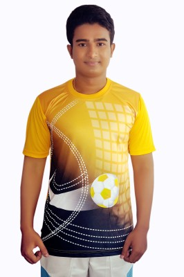 Dyed Colors Printed Men's Round Neck Gold, Multicolor T-Shirt