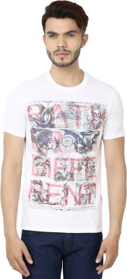 Bajo Printed Men's Round Neck White, Red T-Shirt