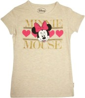 Mickey And Friends Printed Girl's Round Neck White T-Shirt