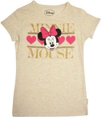 Mickey And Friends Printed Girl's Round Neck T-Shirt
