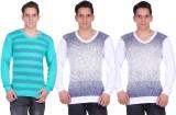 White Moon Printed Men's V-neck Multicol...