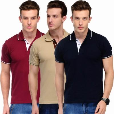 Scott International Solid Men's Polo Maroon, Beige, Maroon T-Shirt