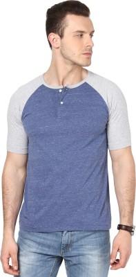 Cherymoya Solid Men's Henley Blue T-Shirt