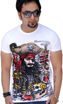 Black Collection Graphic Print Men's Round Neck White T-Shirt