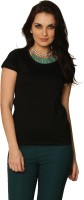Miss Chase Women's Clothing - Miss Chase Solid Women's Round Neck Black T-Shirt