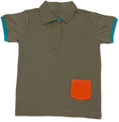 Nino Bambino Solid Boy's Round Neck Green T-Shirt