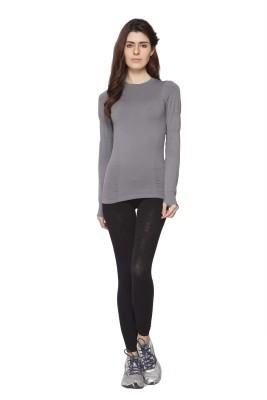 Channel Nine Solid Women's Round Neck Grey T-Shirt