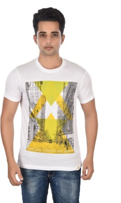 Rockstar Jeans Graphic Print Men's Round Neck White T-Shirt