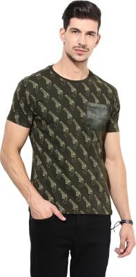PUNK Printed Men,s Round Neck Green T-Shirt