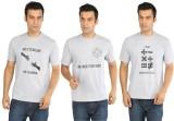 Crescent Printed Men's Round Neck Grey T...