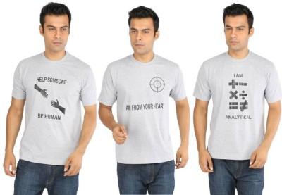 CRESCENT Printed Men's Round Neck Grey T-Shirt