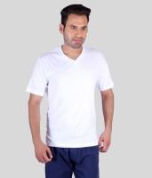 Humbert Solid Men's V-neck White T-Shirt
