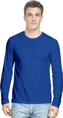 Hueman Solid Men's Round Neck Blue T-Shirt