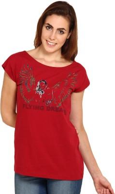Miss Chick Printed Women's Round Neck Maroon T-Shirt