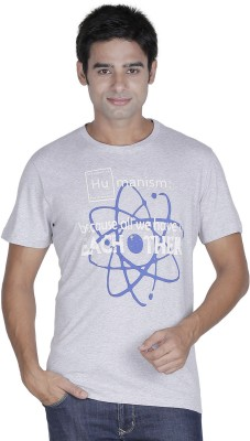 Element of Humanity Graphic Print Men's Round Neck Grey T-Shirt