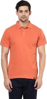 BUKKL Solid Men's Polo Neck Orange T-Shirt