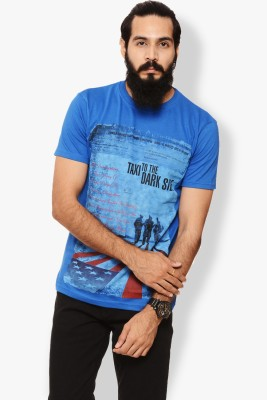 Warriors Printed Men's Round Neck Blue T-Shirt