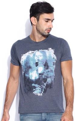 HRX Printed Men's Round Neck Dark Blue T-Shirt