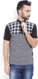 Integriti Striped Men's Polo Neck Black T-Shirt