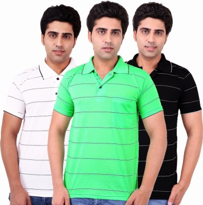 Xensa Striped Men's Polo Neck Black, White, Green T-Shirt
