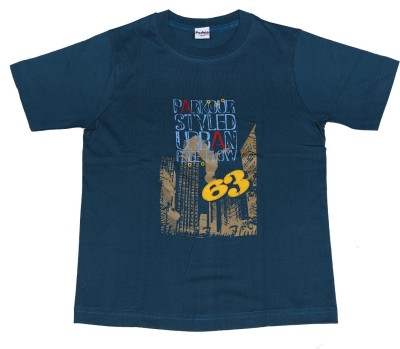 Padma Printed Boy's Round Neck Dark Blue T-Shirt