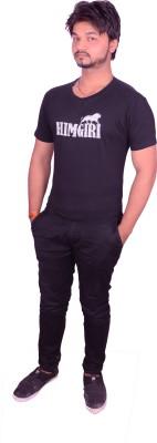 HIMGIRI Printed Men's Round Neck Black T-Shirt