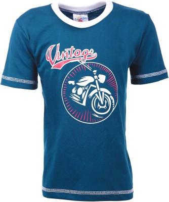 Crackles Graphic Print Boy's Round Neck Dark Blue T-Shirt