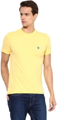 Turtle Solid Men's Round Neck Yellow T-Shirt