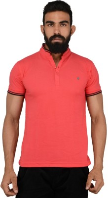 Gotit Solid Men's Fashion Neck Red T-Shirt
