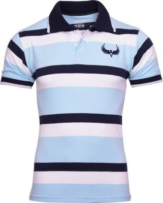 Avenster Striped Men's Polo Neck Blue, White T-Shirt