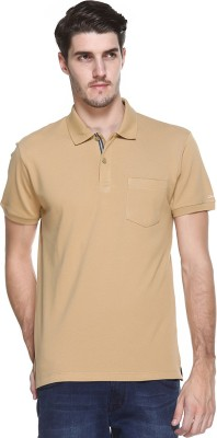 OCTAVE Solid Men's Polo Neck Brown T-Shirt
