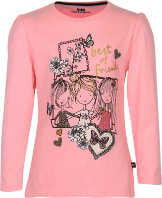 Bells and Whistles Printed Baby Girl's Round Neck Pink T-Shirt