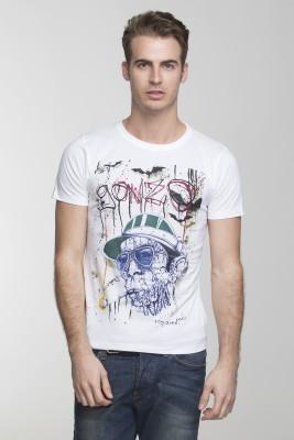 Vsquared Printed Men's Round Neck White T-Shirt