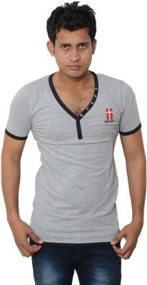 Lampara Solid Men's V-neck Grey T-Shirt