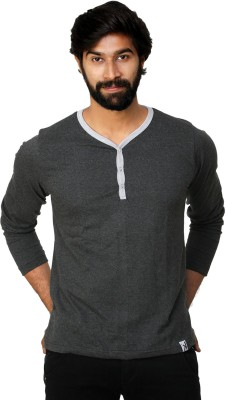 0EM Self Design Men's Henley Grey T-Shirt