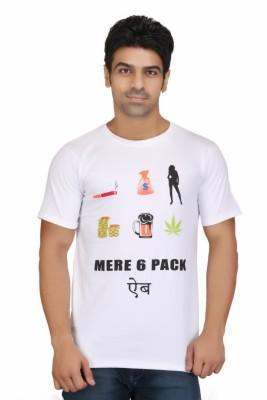 Crazeis Printed Men's Round Neck White T-Shirt