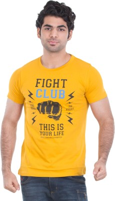 Zulements Printed Men's Round Neck Yellow T-Shirt