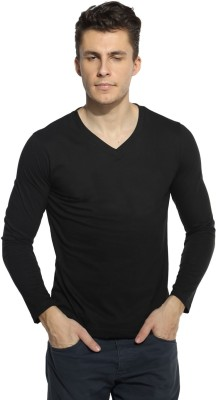 Pepperclub Solid Men's V-neck Black T-Shirt