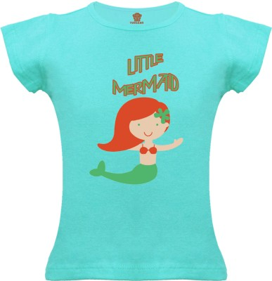 Tuscans Graphic Print Baby Girl's V-neck Light Blue T-Shirt