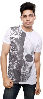 Viral Lifestyle Floral Print Men's Round Neck White T-Shirt
