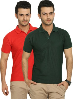 Fundoo-T Solid Men's Polo Red, Dark Green T-Shirt
