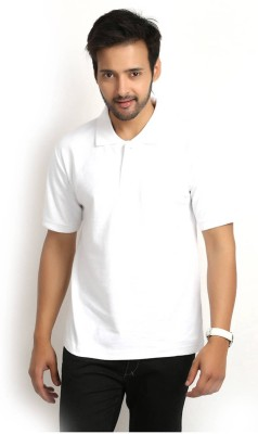 Friskers Solid Men's Polo White T-Shirt