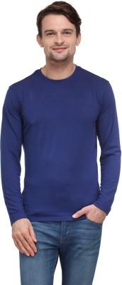 Global Nomad Solid Men's Round Neck Blue T-Shirt