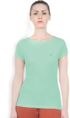 Do U Speak Green Solid Women's Round Neck Green T-Shirt